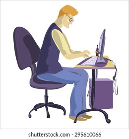 Programmer sitting in front of his computer and working. Cartoon flat illustration