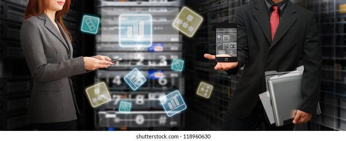 Programmer team in data center room are sharing file sytem