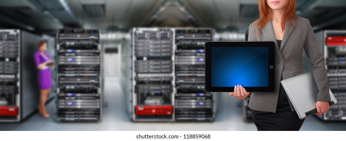 Programmer team in server room for service