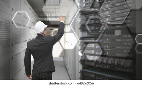 Programmer touch the icon in server room