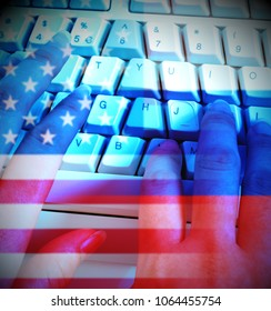 Programmer Typing And Russia Usa Flags Shows Hacking. American Democratic Political Campaign Hacked By Online Cyber Criminals.