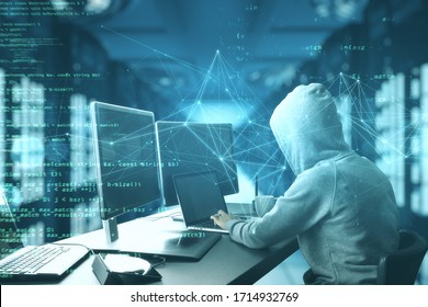 Programmer using computer with html code. Safety and programming concept. Double exposure