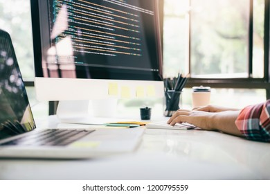 Programmer and UX UI designer working in a software development and coding technologies. Mobile and website design and programming development technology.