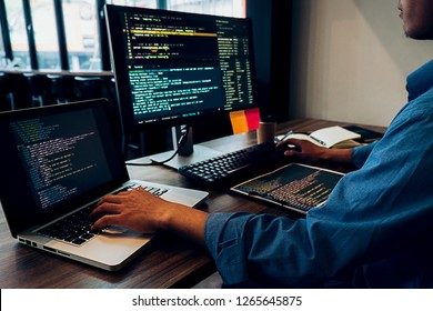 Programmer working in a software development and coding technologies. Website design.Technology concept.