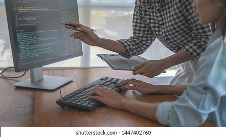 Programmer working in a software development and coding technologies. Website design.Technology concept