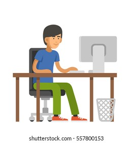 Programmer Writes Code for a Computer. Young Man Sitting at Desk. illustration
