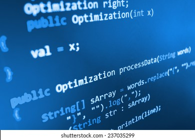 Programming code abstract screen of software developer. Computer script.