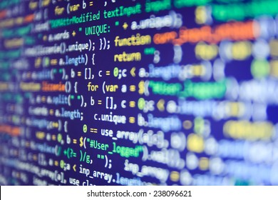 Programming code abstract screen of software developer. Computer script. Blue color.