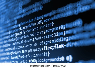 Programming code abstract screen of software developer. Software development. Programming code. Source code photo. Writing program code on computer. Software source code. Monitor photo.