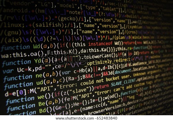 Programming Code Abstract Screen Software Developer Stock Photo