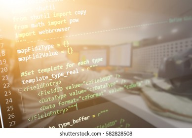 Programming code abstract software technology background of software developer and Computer script. (This code text create by myself)