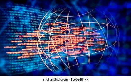 Programming code and global network with technology background