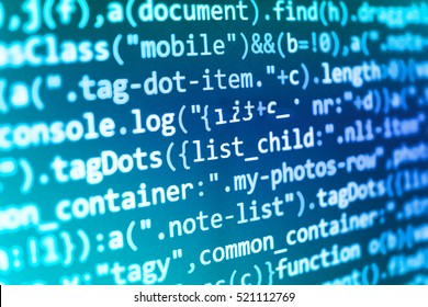 Programming code on computer screen. PHP syntax highlighted. Source code close-up. Software engineer at work. Script procedure creating. Hacker breaching net security. Computer code data.