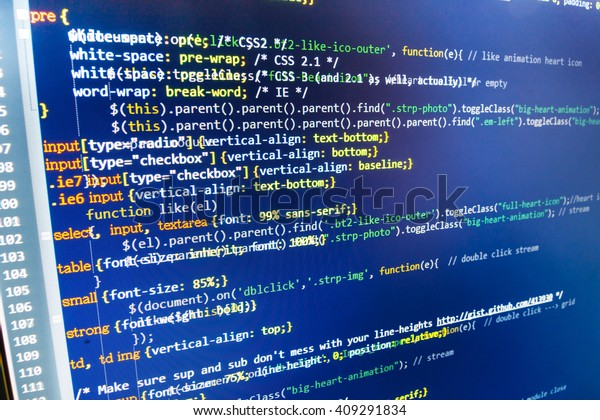 Programming Code On Computer Screen Developer Stock Photo