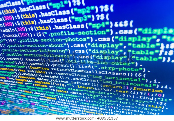 Programming Code On Computer Screen Software Stock Photo