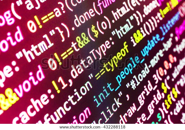Programming code on computer screen. Writing programming code on laptop. Programmer workplace. Source code photo.  Website codes on computer monitor. Programmer occupation. Programming code.