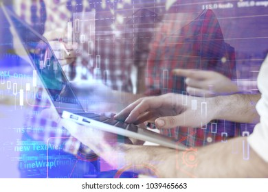 Programming, computing and computer concept. Close up of hands using laptop on abstract background with HTML code. Double exposure