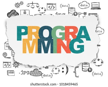 Programming concept: Painted multicolor text Programming on Torn Paper background with  Hand Drawn Programming Icons