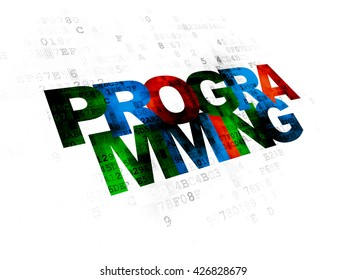 Programming concept: Pixelated multicolor text Programming on Digital background