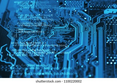 Programming language code on blue integrated circuit background. Program coding concept. Html, css and javascript.