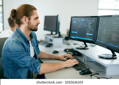 Programming. Man Working On Computer In IT Office, Sitting At Desk Writing Codes. Programmer Typing Data Code, Working On Project In Software Development Company. High Quality Image.