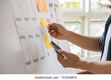 Programming websites and mobile applications on the phone, so-called. user experience (UX). Web designer, UX UI designer planning application for mobile phone.