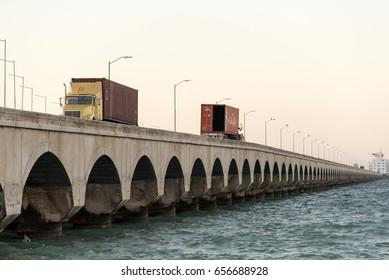 PROGRESO, MEXICO - JANUARY 27,2017: Main attraction the longest pier in the world in Progreso Mexico January 27 2017