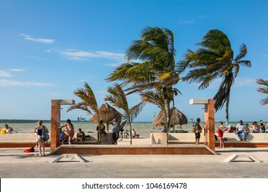Progreso, MEXICO - march 11, 2012: People rest on a beach in Progreso near Merida, Yucatan, Mexico