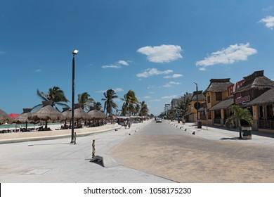 PROGRESO, MEXICO, MARCH 17, 2018: The beachfront of Progreso in the north of Merida, Yucatan, Mexico