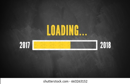 progress bar showing loading of 2018 drawn on a chalkboard