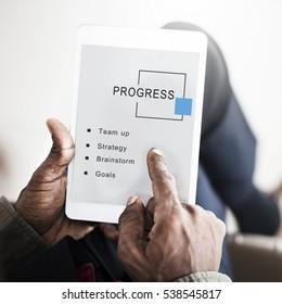 Progress Business Startup Strategy Goals Concept