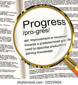 Progress Definition Magnifier Shows Achievement Growth And Development