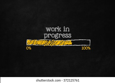 Progress loading concept with copyspace for website, user interfaces, installation software, preloading webpage, work in progress. A loading bar isolated on blackboard indicate a percentage.