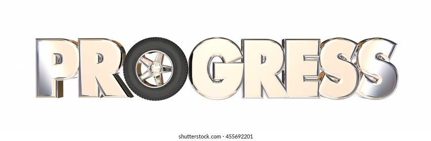 Progress Moving Forward Travel Momentum Wheels 3d Illustration