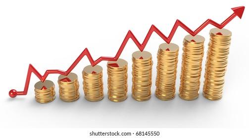 Progress: red graph over golden coins stacks over white