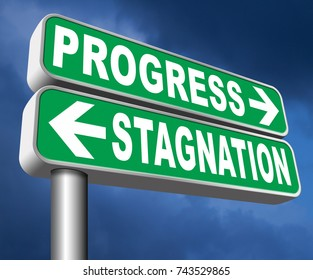 progress or stagnation innovation or stand still and no market or economy and business growth 3D, illustration