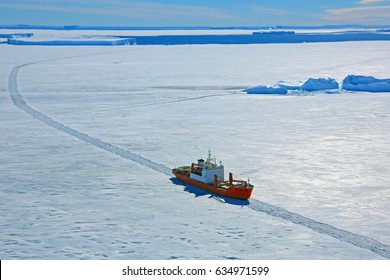Progress station, Antarctica  January 20, 2016: Cargo ship arrives in port for unloading on an ice floe. Antarctic.