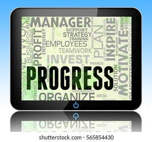 Progress Words Tablet Showing Betterment Headway And Advancement 3d Illustration