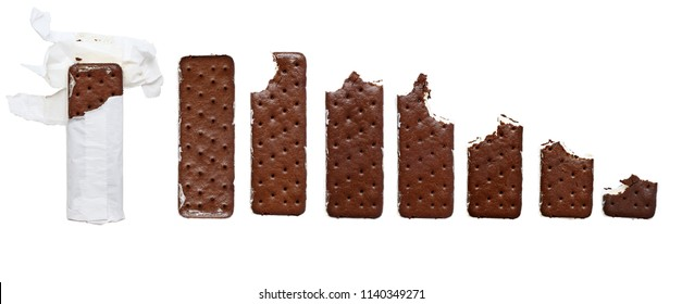 Progression of opened whole Chocolate and Vanilla ice cream cookie sandwich still in the wrapper to eaten wafer isolated over a white background and.