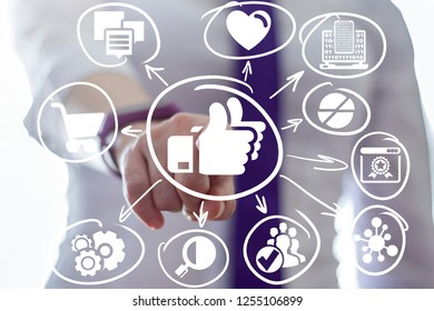 Progressive girl pushing a thumbs up button on a virtual display. Like social media communication. Web assessment shopping concept.