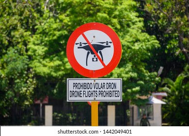 Prohibited flying a drone sign