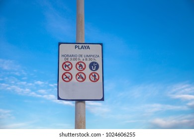 Prohibited signs on the beach