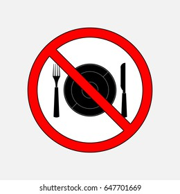 prohibiting sign eat, cutlery knife and fork, without food, fully editable image