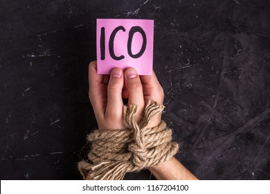 Prohibition and illegal launching ICO. Initial coins offering outlawed