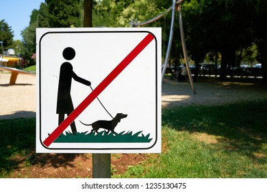 Prohibition sign for dog ban in a public park in Porec in Croatia