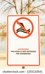 Prohibition sign on the beach, Ban on swimming, sea, ocean, danger, health, dirty water, nature, spring, rest, love, nature, sea breeze, sea background, river sign prohibiting swimming, beach