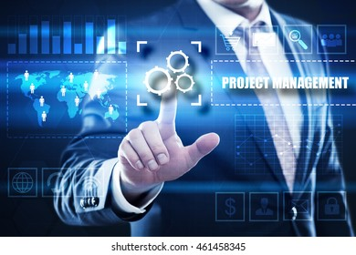 project management, business, technology and internet concept: businessman are using a virtual computer and are selecting project management.
