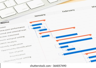 Gantt chart images stock photos vectors shutterstock project management and gantt chart with keyboard ccuart Choice Image