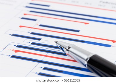 Project management and gantt chart with pen