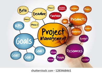 Project management mind map flowchart with marker, business concept for presentations and reports